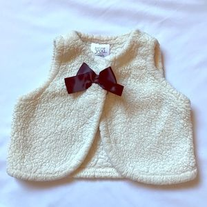 Baby girl Sherpa vest with black bow